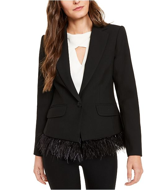 Trina Turk Rikka Feather-Trim Blazer