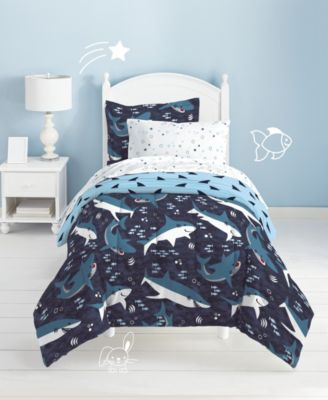 8pc FULL Sharks BED IN A BAG COMFORTER SHEETS THROW PILLOW SHAMS BEDROOM BEDDING