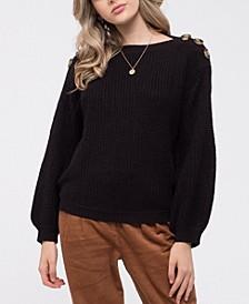 Button Shoulder Knit Sweater