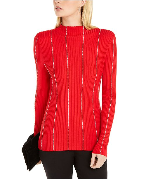 INC International Concepts I.N.C. Embellished-Stripe Sweater, Created For Macy's
