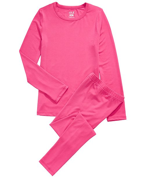 Max & Olivia Little & Big Girls 2-Pc. Base Layer Top & Pants Set