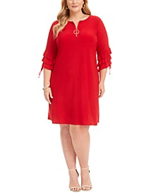 Plus Size Ruffle-Sleeve Zip Dress