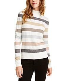 Mock-Neck Metallic Stripe Sweater, Created For Macy's