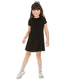 Little Girls Collared Glitter Velvet Dress, Created For Macy's
