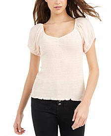 Juniors' Puff-Sleeve Crinkle Top