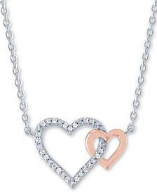 "Diamond Accent Double Heart 18"" Pendant Necklace in Sterling Silver & 14k Rose Gold-Plate"