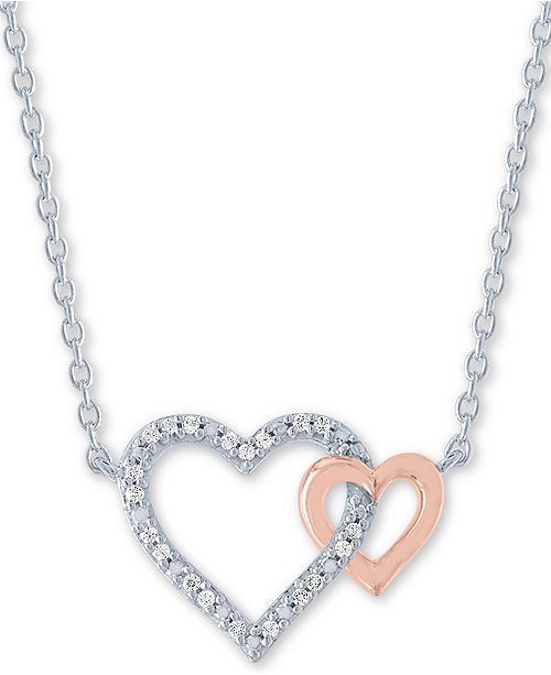 """Macy's Diamond Accent Double Heart 18"""" Pendant Necklace in Sterling Silver & 14k Rose Gold-Plate"""