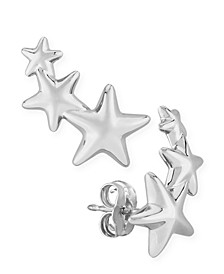 Triple Star Stud Crawler Earrings Set in 14k  White Gold