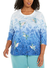Plus Size Hummingbird Print Top