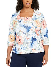 Plus Size Beaded Butterfly Print Top