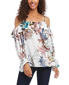 Printed Ruffled Cold-Shoulder Top