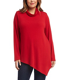Plus Size Cowlneck Asymmetrical-Hem Sweater