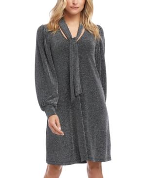 Karen Kane Dresses TIE-NECK METALLIC DRESS