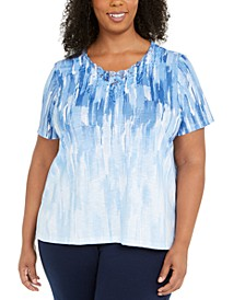 Plus Size Abstract Ombre Embellished Top