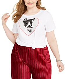 Trendy Plus Size French Bulldog Graphic T-Shirt