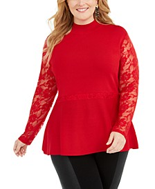 INC Plus Size Lace Peplum Sweater, Created for Macy's