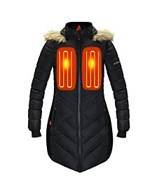 Women's 5V Battery Heated Long Puffer Jacket with Hood