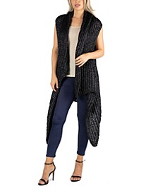 Women Knee Length Charcoal Sweater Vest