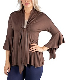 Three Quarter Tie Front Ruffle Cardigan