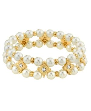 Crystal Simulated Imitation Pearl Stretch Bracelet