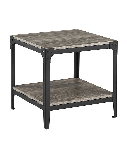 Walker Edison Rustic Wood End Side Table, Set Of 2