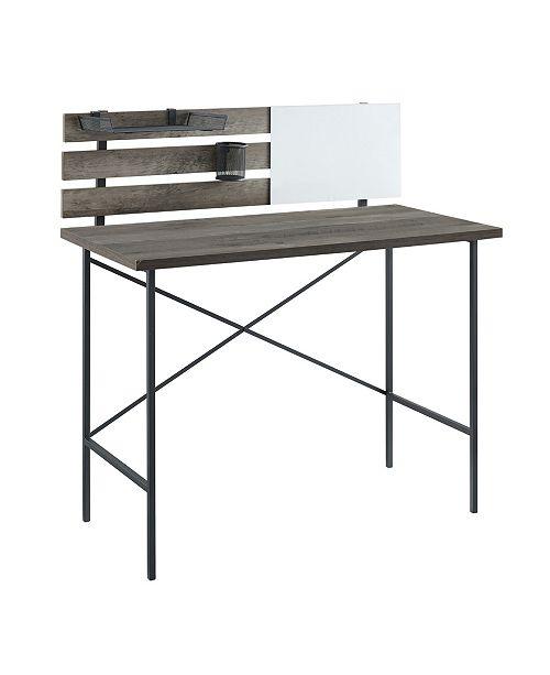 Walker Edison Modern Slat Back Adjustable Storage Writing Desk