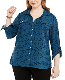 Plus Size Polka Dot Button-Down Shirt