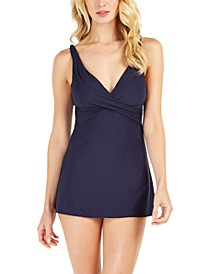Liquid Wrap A-Line Tummy-Control Swimdress