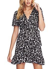 Floral-Print Flounce Wrap Dress