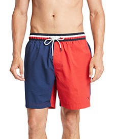 "Men's Colorblocked Seersucker Stripe 6-1/2"" Swim Trunks"