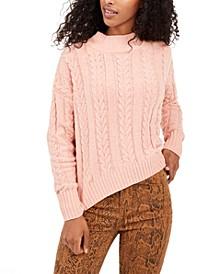 Juniors' Cable-Knit Drop-Shoulder Sweater