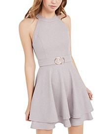 Juniors' Belted Glitter Fit & Flare Dress