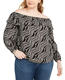 Plus Size Printed Ruffled Off-The-Shoulder Top
