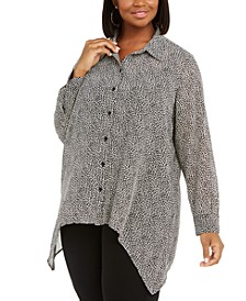 Plus Size Printed Button-Front Handkerchief-Hem Top