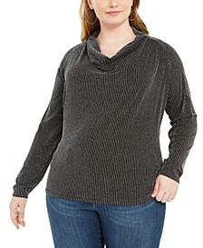 Plus Size Metallic-Stripe Cowlneck Sweater