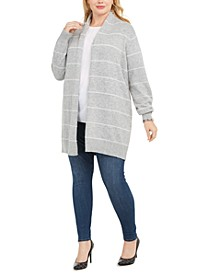Plus Size Tinsel Stripe Long Cardigan Sweater