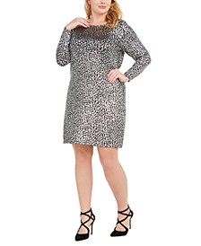 Plus Size Foil Animal-Print Cowl-Back Dress