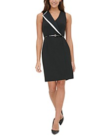Belted Lapel Sheath Dress