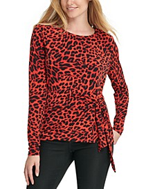 Animal-Print Knot-Detail Top