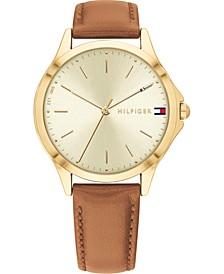 Women's Brown Leather Strap Watch 34mm, Created for Macy's
