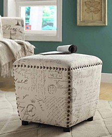 Cortez Upholstered Ottoman with Nailhead Trim