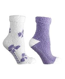 Women's Bows Lavender Infused Slipper Socks, 2-Pair Pack