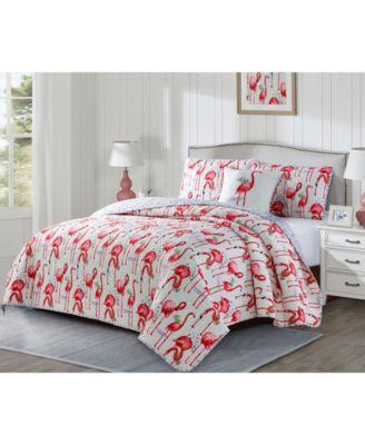 Fancy Flamingo 3 Piece Quilt Set, Queen