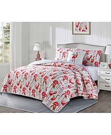 Fancy Flamingo 3 Piece Quilt Set, Queen