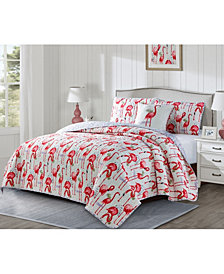Seaside Resort Fancy Flamingo 3 Piece Quilt Set, Queen