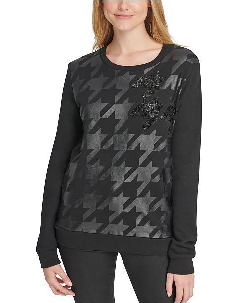 DKNY Cotton Houndstooth Beaded Top