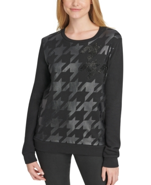 Dkny Tops COTTON HOUNDSTOOTH BEADED TOP
