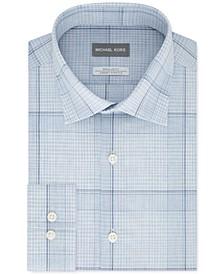 Men's Classic/Regular-Fit Non-Iron Airsoft Performance Stretch Plaid Dress Shirt