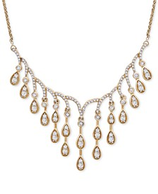 """Diamond Dangle 18"""" Statement Necklace (1-1/2 ct. t.w.) in 14k Gold, Created For Macy's"""