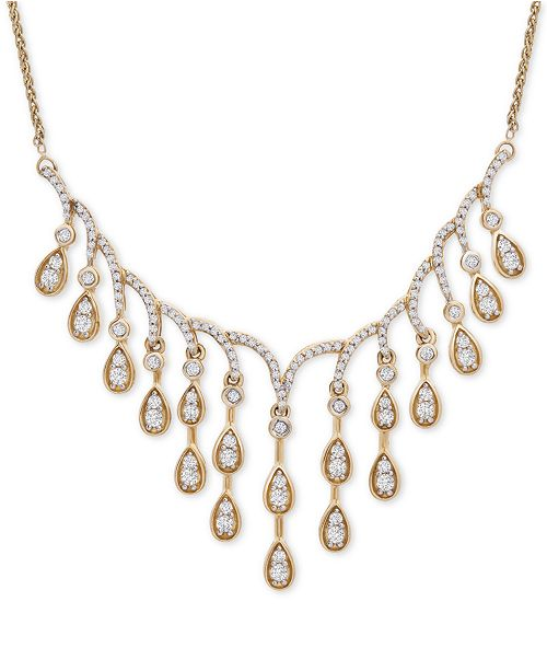 """Wrapped in Love Diamond Dangle 18"""" Statement Necklace (1-1/2 ct. t.w.) in 14k Gold, Created For Macy's"""
